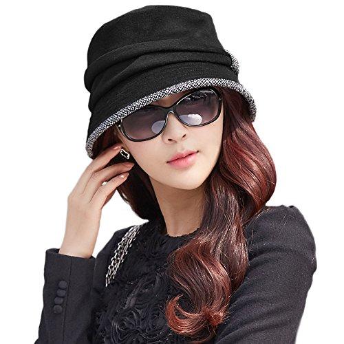 SIGGI schwarz Wolle Glockehut 1920s Retro Fedorahüte für Damen Fischerhüte Klassisch klappbar Bowler Hut Winter (Retro Damen Bowler)