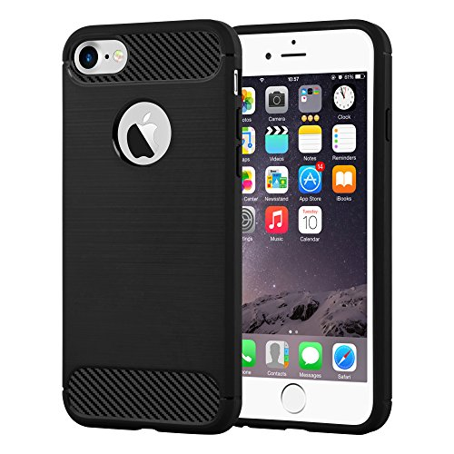 Preisvergleich Produktbild Cadorabo DE-104034 Apple iPhone 7 / iPhone 7S Handyhülle aus TPU Silikon in Edelstahl-Karbonfaser Optik Ultra Slim Soft Back Cover Case Bumper Brushed Schwarz