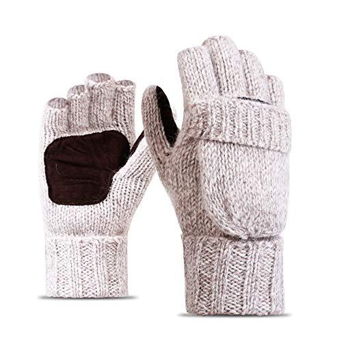 YZOTEK Damen Warme Gestrickte Wollhandschuhe - Winter Thermo Klappenabdeckung Fäustlinge/Outdoor Sports Leder Palm Pad Verdickte Handschuhe/Fleecefutter für Schneitendes Kaltes ()