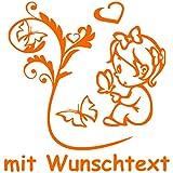 Hoffis Premium Babyaufkleber mit Name/Wunschtext Baby Kinder Autoaufkleber - Motiv 1271 (16 cm) - Farbe und Schriftart wählbar