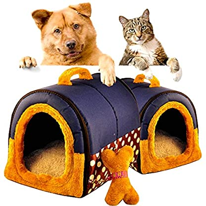 ACTNOW Pet house 2-in-1 and Classic Portable Washable Sofa Non-Slip Dog Cat Cave House Beds with Removable Cushion Warm… 2