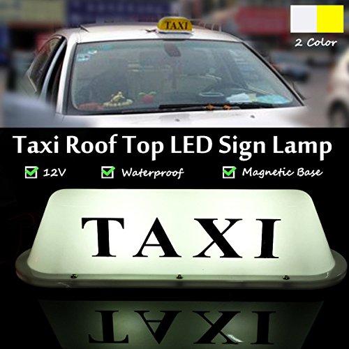 12V Voiture Camion Taxi Cab Signe Toit Dôme LED Lumière Lampe Shell Base Magnétique (Couleur: blanc)