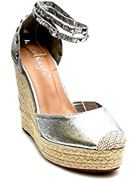 King Of Shoes Trendige Damen Riemchen Keil Sandaletten Pumps Keilabsatz  Wedges High Heels Schuhe Bequem KA1 ea2c762ac1
