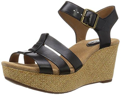 Clarks Damen Sandalette - Riemchen Sandalen CASLYNN HARP 26114934 4 Schwarz, EU 38 (Clarks Damen Clogs Schuhe)