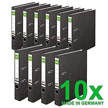 DINOR™ Classeurs avec des couvertures papier marbré/noir, dos de 5 cm DIN A4, lot de 10- Fabriqué en Allemagne - Classeurs avec certificat Ange Bleu