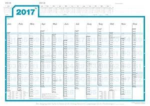 weekview Wandplaner 2017, DIN A1, Wochen in Reihe! Jahresvorschau 2018, Lieferung gefaltet