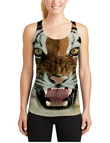 Leapparel Frauen Cooler Entwurf 3d Druckte Sleeveless Racerback Tank Tops Weste Hemden Tiger