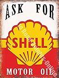 Plaque murale métal / acier garage essence vintage huile moteur Shell - 20 x 30 cm