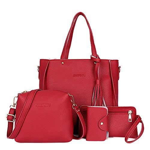 wlgreatsp Damen Handtasche + Schultertasche + Geldbörse + Kartenhalter 4er Set Tote Handtasche Kosmetiktasche (Tote Große Quasten)