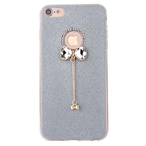 Clear Crystal Rubber Protettivo Case Skin per Apple iPhone 7 4.7, CLTPY Moda Brillantini Glitter Sparkle Lustro Progettare Protezione Ultra Sottile Leggero Cover per iPhone 7 + 1x Stilo - Silver Blu