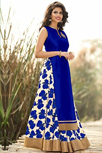 Radhe Krishna Creation Festive Special New Fancy Blue And White Flower Print Indo Western Lehenga