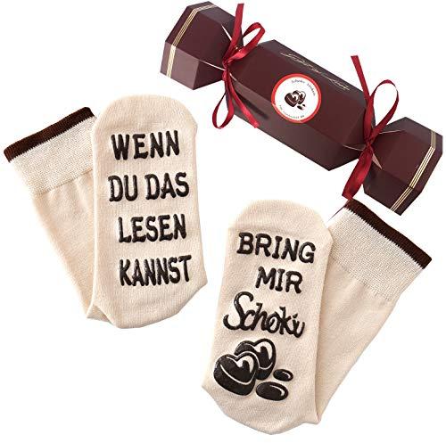 Schokolade-Socken, Spruch auf der Sohle, WENN DU DAS LESEN KANNST, BRING MIR Schoki, Geburtstagsgeschenk für Frauen, Geschenk, Beige, 36-43
