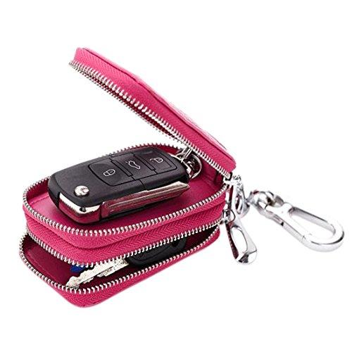 Esdrem Unisex-echtes Leder-Schlüsselketten-Fall-Beutel-Auto-Schlüssel-Halter mit Reißverschluss (Leder-schlüssel-beutel)