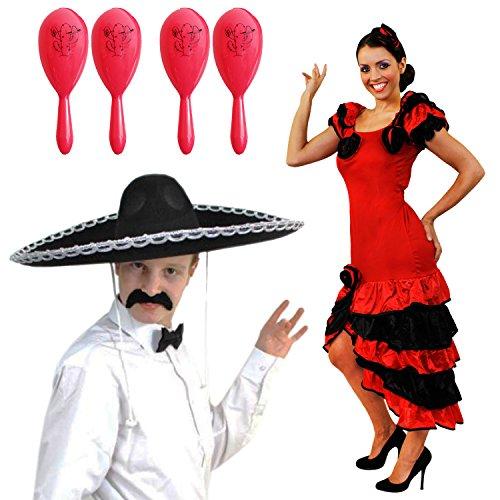 SPANISCHES MEXIKANISCH MARIACI RUMBA ODER SALSA PAARE = MIT 4 ROSA MARACAS = KOSTÜM VERKLEIDUNG = DAS PERFEKTE KOSTÜM FÜR SIE UND IHN FÜR DIE SCHNELLE VERKLEIDUNG = AN KARNEVAL ()