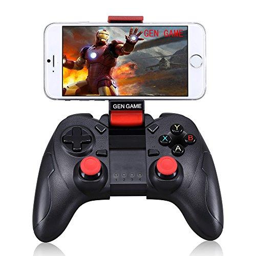 GEN GAME S6 Wireless Bluetooth Game Controller mit Clip Halter für IOS Android Smartphone – Schwarz