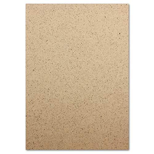 50 Kakaopapier Briefbogen DIN A4-21,0 x 29,7 cm - 250 g/m² Farbe: Braun - Kraftpapier aus echten Schalen der Kakaofrucht - UPCYCLING - Glüxx-Agent