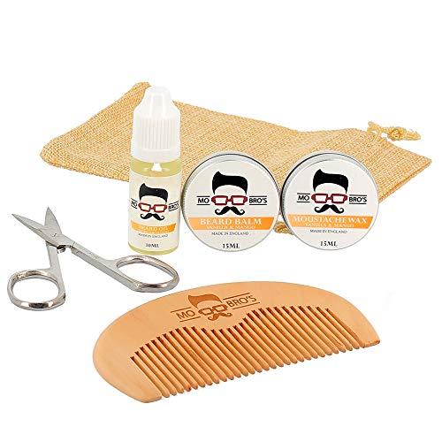 Mo Bro's Kit de Barba de Bienvenida - Cera de Bigote, Bálsamo de Barba, Aceite, Peine, Tijeras y Bolsa de Regalo