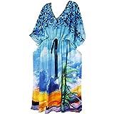 La Leela caftán largo vestido de ropa de playa kimono traje de baño de las mujeres cubrir azul ropa de dormir