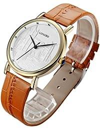Longbo de cuarzo reloj Casual Fashion piel relojes hombres mujeres pareja reloj deportivo reloj de pulsera