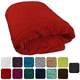 Lanudo® XXL Luxus Sauna-Handtuch 600g/m² Pure Line 80x200 cm mit Bordüre.100% feinste Frottier Baumwolle in höchster Qualität, Saunatuch, Strandtuch, Farbe: Rot