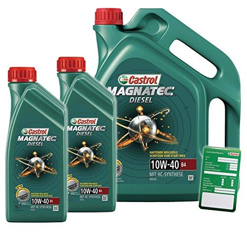 2x 1 L + 5 L = 7 Liter Castrol Magnatec Diesel 10W-40 B4 Motor-Öl inkl. Ölwechsel-Anhänger -