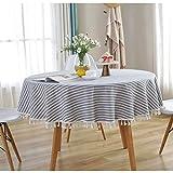 Meiosuns Runde Tischdecke Gestreifte Tischdecken Fringe Tischläufer Einfache und Elegante Heimtextilien für den Innen- und Außenbereich (Durchmesser 150 cm, Blaue/weiße Streifen) - 3