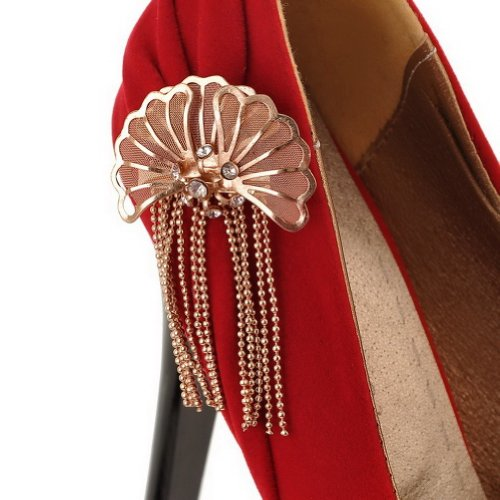 Adee Mesdames nœuds Charms givré Pompes Chaussures Rouge - rouge