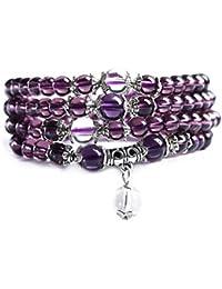 16c1a9c21 6mm Crystal Stone Buddhist Amethyst 108 Prayer Beads Mala Bracelet Necklace