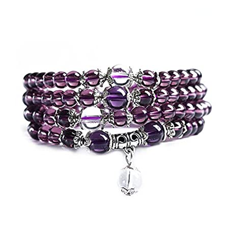 6mm Crystal Stone Buddhist Amethyst 108 Prayer Beads Mala Bracelet Necklace