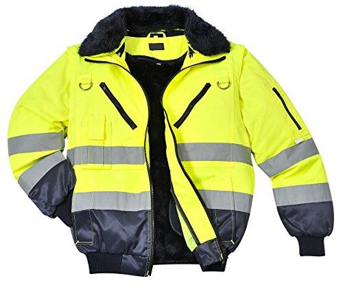 Warnschutzjacke 4-in-1 Funktion Arbeitsjacke Winterjacke, Warnschutz, gelb/orange-marine (L, gelb/marine)