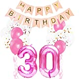 KUNGYO Pinke Party Dekorationen zum 30. Geburtstag - Happy Birthday Banner Riese Zahl 30 Folienballon in Rosa Konfetti Folienballons Latex Balloons Bänder (32 Stücke)
