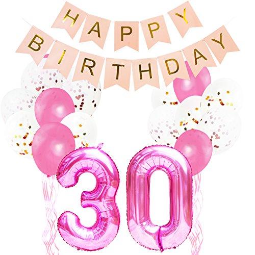 (KUNGYO Pinke Party Dekorationen Zum 30. Geburtstag - Happy Birthday Banner Riese Zahl 30 Folienballon in Rosa Konfetti Folienballons Latex Balloons Bänder (32 Stücke))