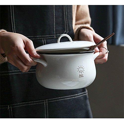 Keramik Suppenteller mit Deckel und Griff Instant Nudel Schüssel Obstsalat mischen Servierschale Terrine Ofen Mikrowelle sicher 6 Zoll