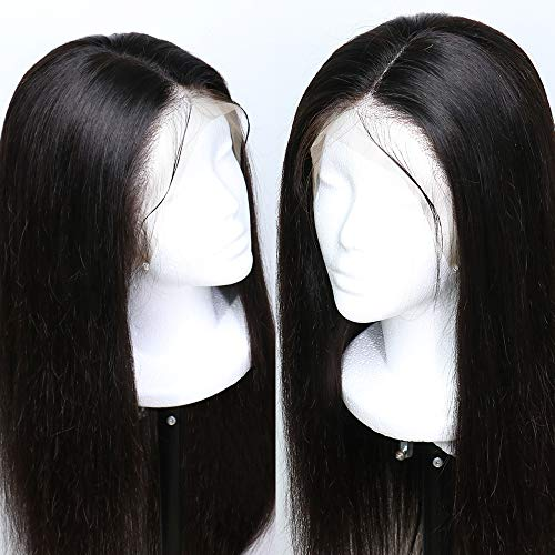 Lace Baby-haar-perücke (Fureya 180% density Straight Glueless Synthetic Lace Front Wigs for Women Heat Resistant Lace Front Wigs with Baby Hair Natural Black 24 inch)