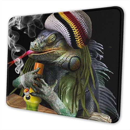 Spiel-Mausunterlage Leguan-Rauch-Hanf-lustiges Unkraut-Marihuana-Mausunterlagen-Matte Mousepad mit dem rutschfesten Gummi unterstützt für Büro/Computer/Laptop -