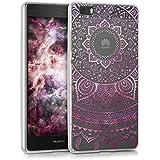 kwmobile Crystal Case Hülle für Huawei P8 Lite aus TPU Silikon mit Indische Sonne Design - Schutzhülle Cover klar in Pink Transparent
