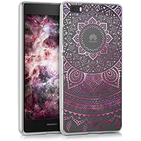kwmobile Funda TPU silicona transparente para Huawei P8 Lite en rosa fucsia transparente Diseño sol