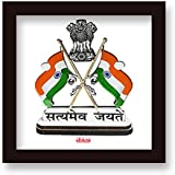 Bakhand Arts Independence Day Gift, Republic Day Gift Satyamev Jayate Quote Printed White Poster Frame 6x6 Inches Posters For Wall In Office And Home Gift For Student, Teacher, Father, Brother, Soldier And Everyone On Independence Day