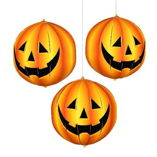 3 Stück LAMPION - KÜRBIS - IM 3D FORMAT, Halloween Deko (Halloween Türdekoration)