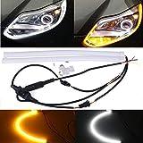 ARMAZENAR Ultra-helle 60CM Weiß / Bernstein Umschalt DRL Flexible Tube Streifen Stil Tagfahrleuchten Riss Streifen Auto Scheinwerfer Blinker Licht Parkleuchte (1-Set)