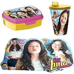 set Colazione Box Portapanini con Bicchiere, Soy Luna Lunchbox Portamerenda Bambini Scuola
