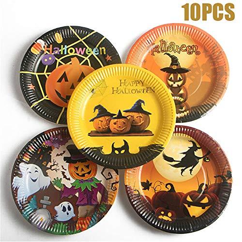 TAOtTAO 10 Stücke Halloween Pappteller Einweg Papier Gerichte Halloween Party Supplies