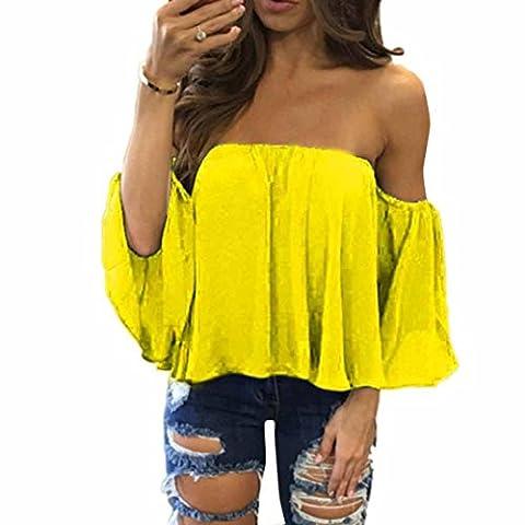 Lanspo Damen T-Shirt T-Shirt Tops Langarm Pullover T-Shirt Off Schulter Lässige Bluse (XXL, Gelb) (Zurück Pullover)