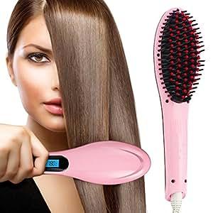 ISABELLA Professional Ceramic Hair Straightener Brush With Temperature Control