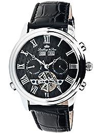 Lindberg & Sons Reloj automático para hombre con esfera negra pantalla analógica y negro correa de piel ls12t105-a3