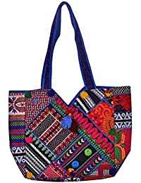 Gaurapakhi Rajasthani Collection And Ethnic Cotton Handmade Handbag With Multicolor For Women's - B07D7K65DN