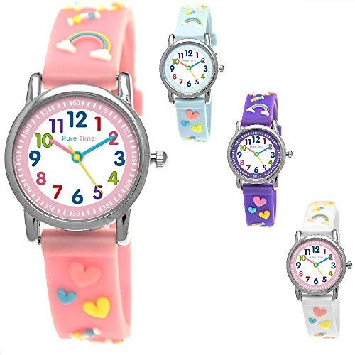 Pure Time® Einhorn Unicorn Kinder-Uhr Mädchen-Uhr Kinder Armband-Uhr Pferd Pony Tier Silikon Armband Mädchen Uhr Kinderuhr Weiß Rosa Lila Türkis Gelb Lern-Uhr Schul-Uhr 3D (Rosa Bunt)