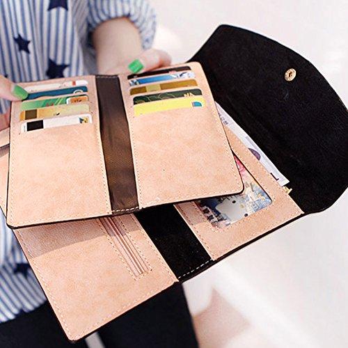Portafoglio Nubuck Simple Style Woolala Per Le Donne Borsa Lunga Con Frizione Sottile Con Tasca Di Espansione Portafoglio Zip, Nero Black