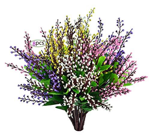 EDINSY Künstliche Blumen Pflanzen Vase Kräuter Kunststoff Blätter Fake Büsche grün für Fenster Box Yard Garten Licht Büro Balkon Dekoration Hochzeit Decor Xm-mixtz-8packs -