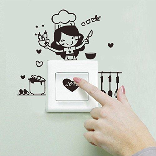 er Wandtattoo Wandsticker , Küche Lichtschalter Aufkleber Cute Cook Vinyl Wandtattoo Home Decor (Schwarz) ()